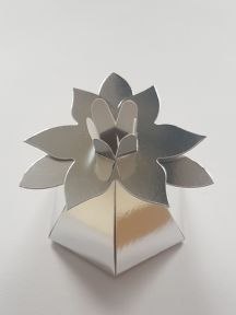 Mirror Flower Top Wedding Favour Boxes - Silver and Gold